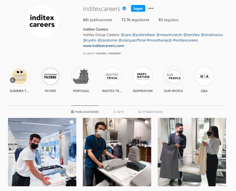Inditex en Instagram para RRHH
