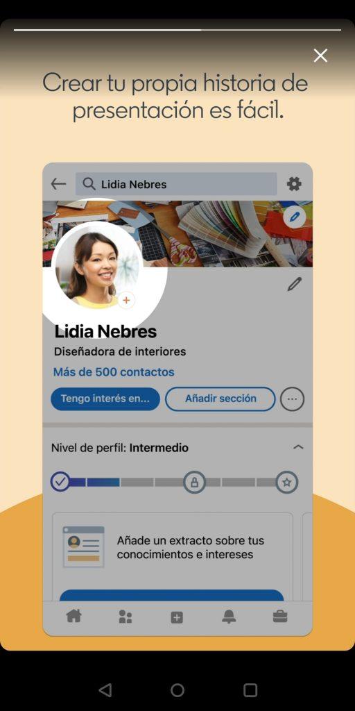 Historia de presentación en LinkedIn